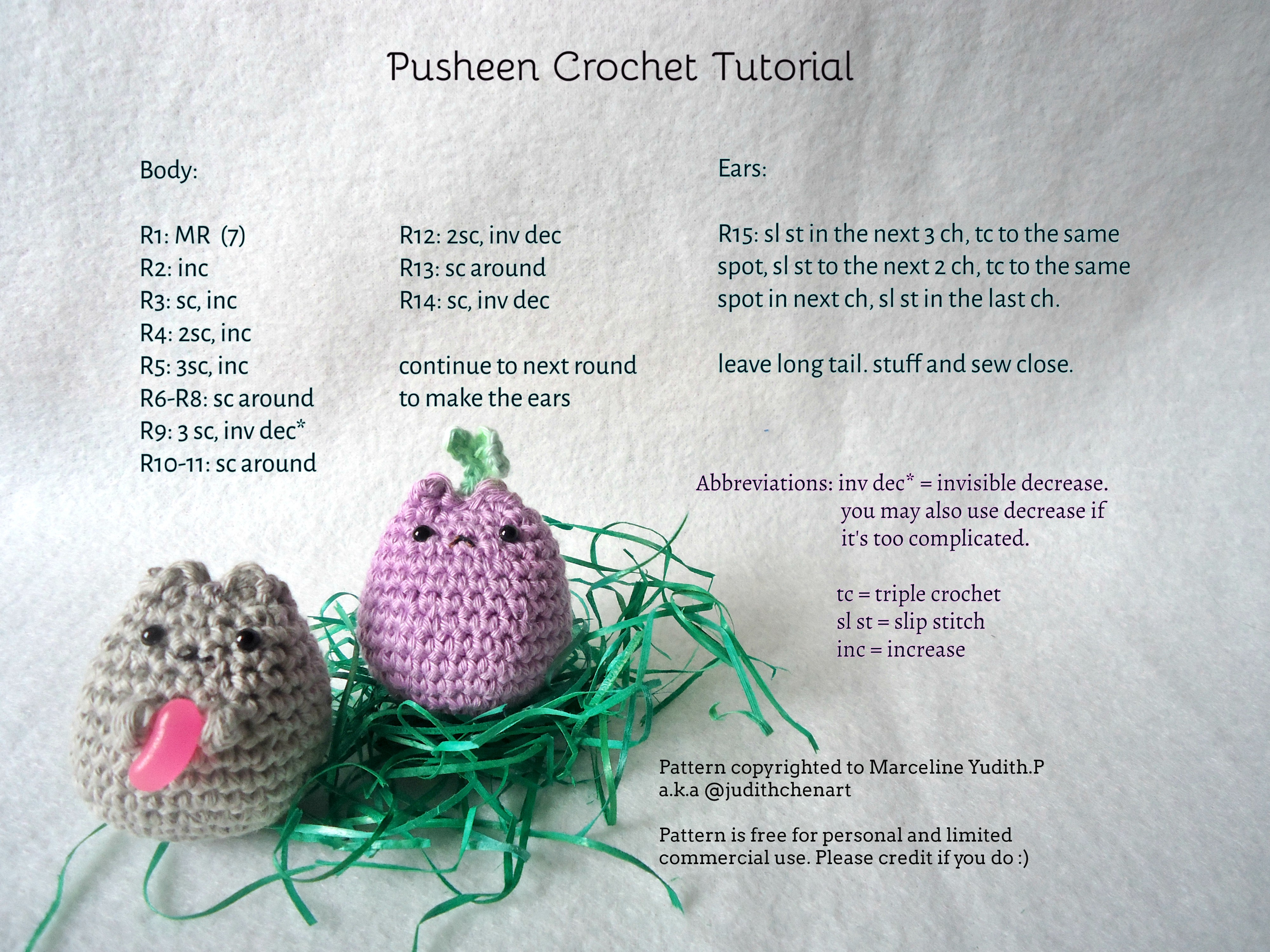 Pusheen Knitting Pattern : Pusheen Crochet Pattern